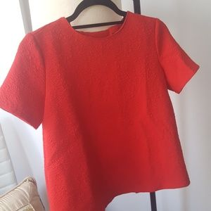 Zara Red Small Top Open Back Short Sleeve Casual